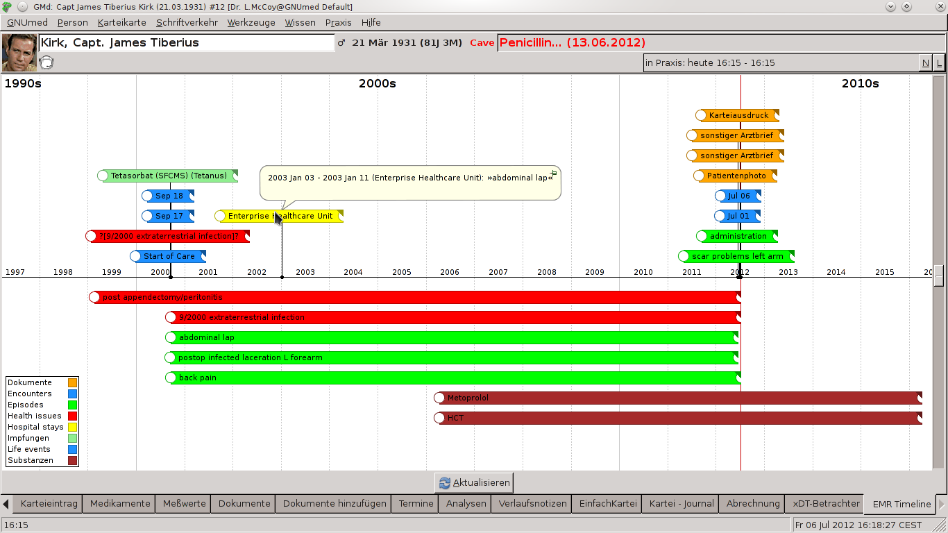 GNUmed for the masses: GNUmed now has a visual timeline